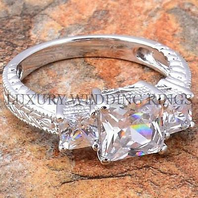 2.25Ct Princess Cut 3 Stones Wedding Ring Engagement Womens Jewelry Size 5-10