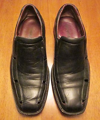 Johnston & Murphy Mens Black Leather Slip On Designer Shoes Sz 9 1/2 M