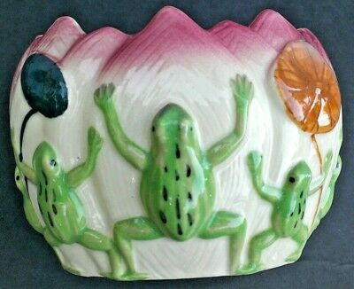 Frog Planter Lilypad Waterlily Vtg Japan Floral Ceramic Garden Decor Pink Green
