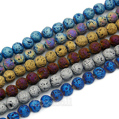 Fashion Titanium Coated Natural Volcanic Lava Gemstone Round Loose Beads 15""