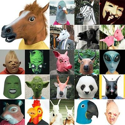 Multi-Funn​y Horse Unicorn Latex Mask Cosplay Halloween Animal Zoo Party Prop