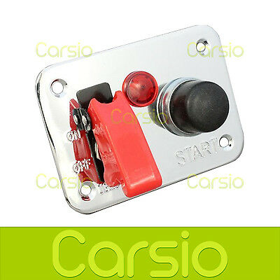 25A 12v Ignition Switch Panel Push Button Start Car Track Rally Boat LED Warning