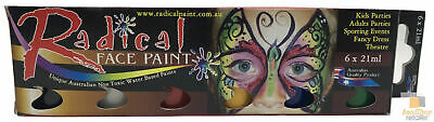 FACE PAINT STARTER KIT 6 x 21ml Non Toxic Water Based Paints Party Theatre New