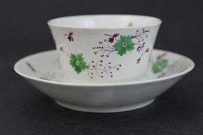 ATQ English Soft Paste Porcelain Hand Painted Purple Green Flower Cup & Saucer