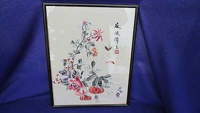 Vintage Silk Asian Hand Embroidered Floral Silk Threaded Picture Chinese?