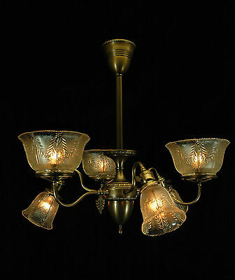 Antique Circa 1890's Restored Victorian 6 Arm Gas & Electric Chandelier