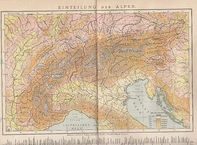 1893 ALPEN Einteilung Landkarte Antique Map * Original Druck / Print * Alps