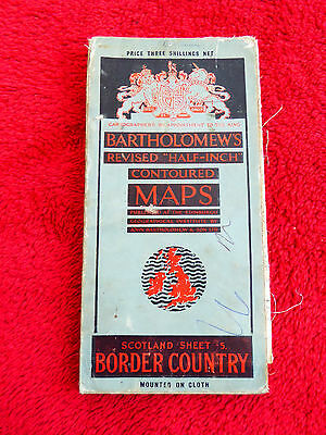 VINTAGE BARTHOLOMEW'S CLOTH SHEET MAP - BORDER COUNTRY SHEET 5 - c1935
