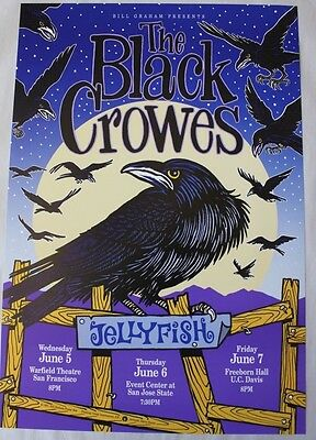 Black Crowes Concert Poster from June 1991 Shows in Northern California bg BGP