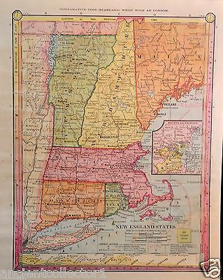 Amazing Antique 1885 Color Map of New England