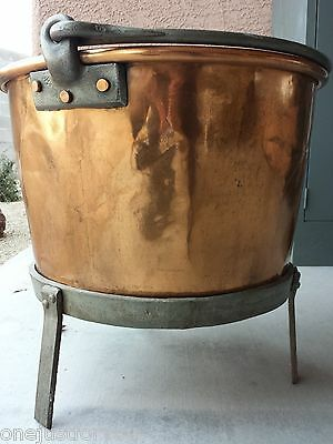 Copper Pot Cauldron Refinished Forged Iron Stand Late 1800's Vintage Huge