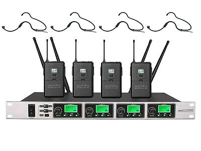4-Channel Professional UHF Headset Wireless Microphone System Free Shipping