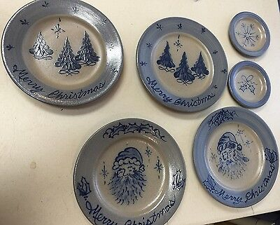 Rowe Pottery Works Set of 6 Salt Glazed Plates Christmas Theme 4 Large 2 Small