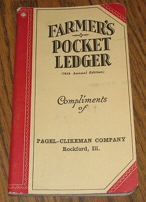 1942-1943 John Deere Farmers Pocket Ledger PAGEL-CLIKEMAN CO ROCKFORD IL 78th