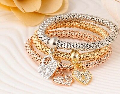 3 Pcs 18K Yellow Gold Silver Plated HEART Charm Bracelet Bangle Elastic