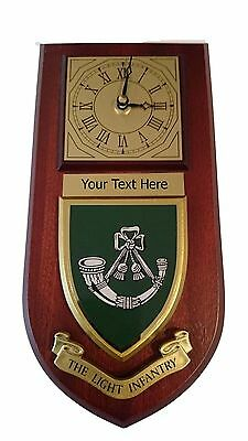 The Light Infantry Personalised Military Wall Clock Plaque UK Made for MOD