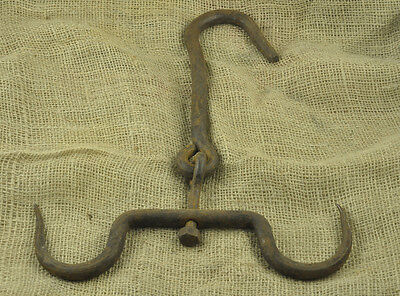 Antique Large Ottoman Fireplace Hand forged Iron Double Hook 19 Century  2.6 lb
