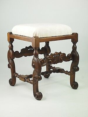 Antique Victorian Walnut Stool - Footstool Piano Stool Seat Bench Coffee Table