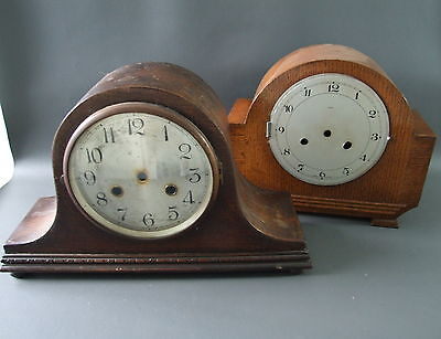 2 vintage wooden empty mantle clock cases - parts spares craftwork