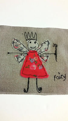 Fairy Picture Quilt Block  HANDCRAFTED  Fairies Fabric