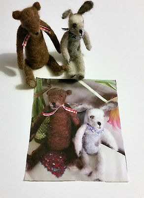Needle Felted Picture Quilt Block  Felting Bear & Rabbit /Hare HANDCRAFTED