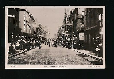 Devon DEVONPORT Fore St  busy street scene used 1900s RP PPC by Rotary