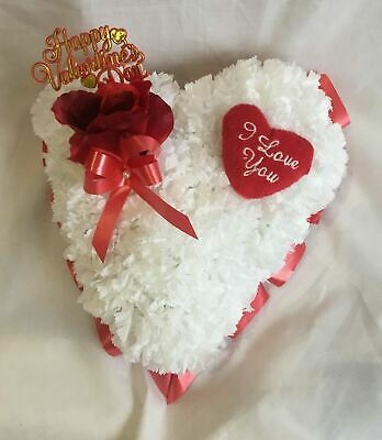 Artificial Silk Flower Red Rose Heart Tribute Memorial Wreath Grave Funeral Faux
