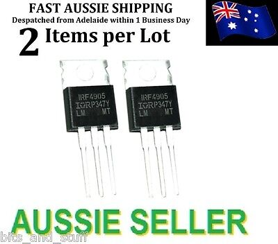 2pc IRF4905 -74A -55V 200W TO220 P-Channel HEXFET Power MOSFET FET IR IRZ TKX B