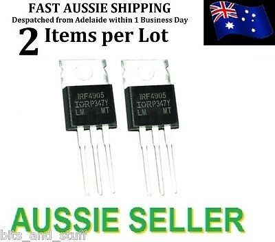 2pc IRF4905 -74A -55V 200W TO220 P-Channel MOSFET International Rectifier (IR)