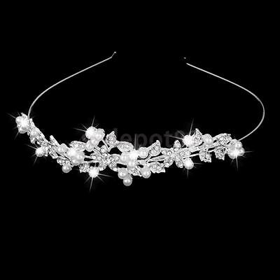 Bridal Bridesmaid Wedding Prom Crystal Pearl Crown Headband Tiara Hair Comb