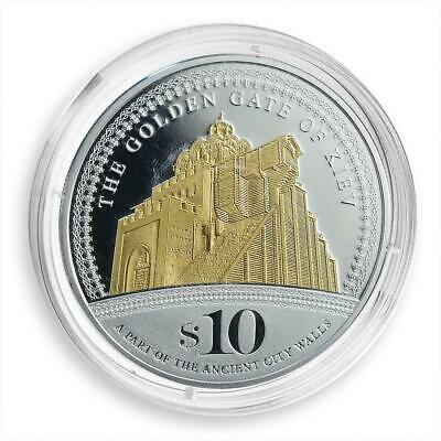 Cook Islands 10 dollars Golden Gate of Kiev Silver Gilded Proof Coin 2009