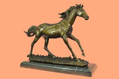 Solid Bronze Canova Horse Head Sculpture Bust Marble Base Art Deco Figurine Sale
