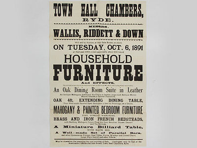 1891 Antique Furniture Printed Auction Poster for Isle of Wight