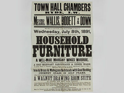 1891 Antique Furniture & Effects Victorian Auction Poster