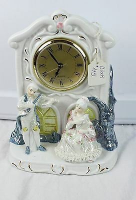 Vintage Painted And gold Gilt Ceramic Clock Quartz Movement Victorian Man Woman
