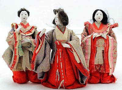 3x antique Hina Ningyo, Japanese Doll, Court Ladies, Gofun Glass eyes Open mouth