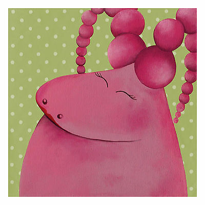 Baby Girl Nursery Wall Decor Art Print Bedroom Poster Pink Monster Print 8x8""