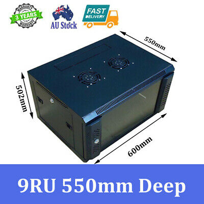 """9U 9RU 19"""" 19 Inch Wall Mount Rack Cabinet for Networking and Comms 550mm Deep"""