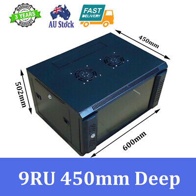 """9U 9RU 19"""" 19 Inch Wall Mount Rack Cabinet for Networking and Comms 450mm Deep"""