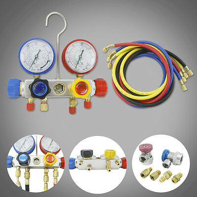 "4 Way AC Manifold Gauge R410a R22 R134a Set 60"" Hoses and Coupler Adapters"