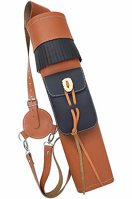 New Orange Leather Back Side Quiver With Front Pocket Archery Products AQ-176.