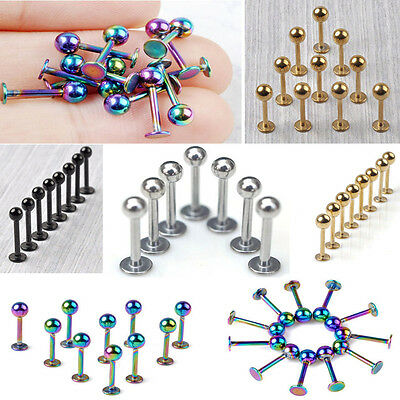 10pc Lip Chin Labret Ring Bar Stud Tragus Ball Stainless Steel Body Piercing NEW
