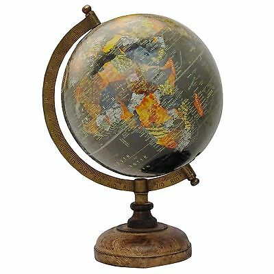 "13"" Big Decorative Rotating Globe Black Ocean World Geography Earth Table Decor"