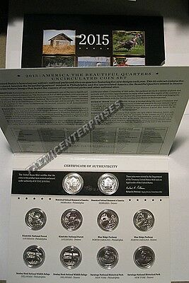 2015 P & D US Mint America the Beautiful Uncirculated 10 Coin Quarter Set NE2