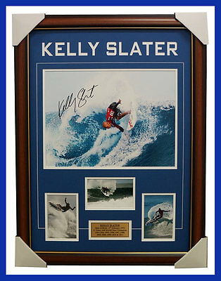 Kelly Slater Signed Surfing World Champion Photo Collage Framed with Plaque