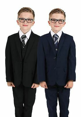 Boys Suits, Boys Wedding Suits, Page Boy Suits, Navy or Black (0-3 to 14 Yrs)