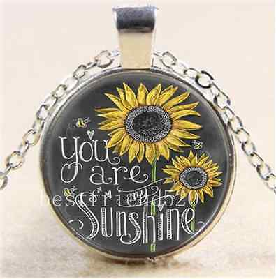 Sunflower You Are My Sunshine Glass Tibet Silver Chain Pendant Necklace