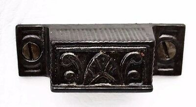 Restored 1875 Cast Iron Eastlake Victorian Antique Hardware Drawer Pull Bin