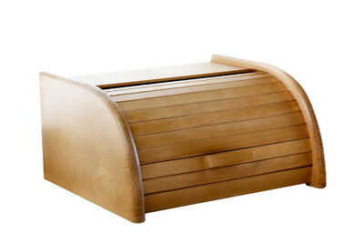 Wooden Bread Box Apollo Roll Top Bin Storeage Loaf Kitchen Bech Wood Light Brown