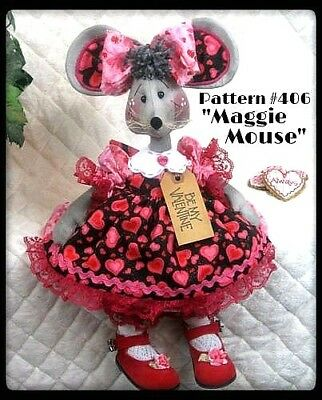 "~~ Primitive Raggedy ""Maggie Mouse"" PATTERN #406 ~~ from Ginger Creek Crossing"